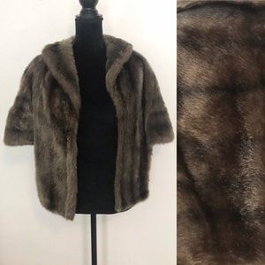 Vintage 1960's Fur Stole Wrap with Collar